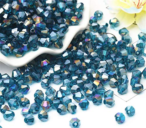 01 Exquisite Peacock Blue AB Glass Crystal 3mm 1000pcs Bicone Beads Loose -