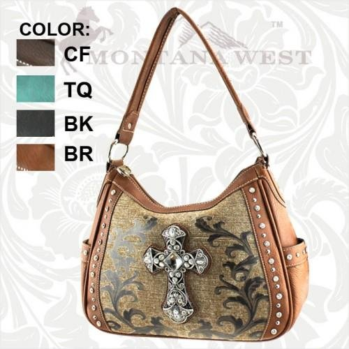CVC-8291 Spiritual Cross Collection Handbag Hand Bag Tote Purse Brown