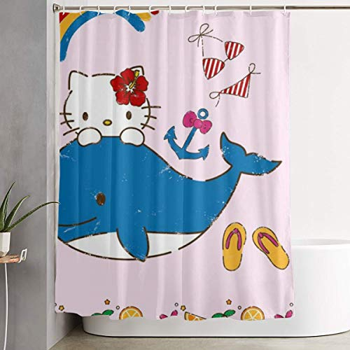 LYULIAN Hello Kitty with Whale with Hook Stylish Shower Curtain Printing Waterproof Bathroom Curtain 60 X 72 Inches