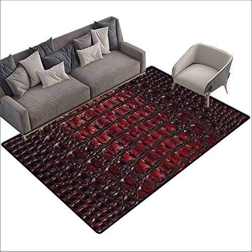 (Office Chair Floor Mat Foot Pad Animal Print,Freshwater Crocodile Bone Skin Pattern Tropical Wilderness Fashion Themed Art,Burgundy 60