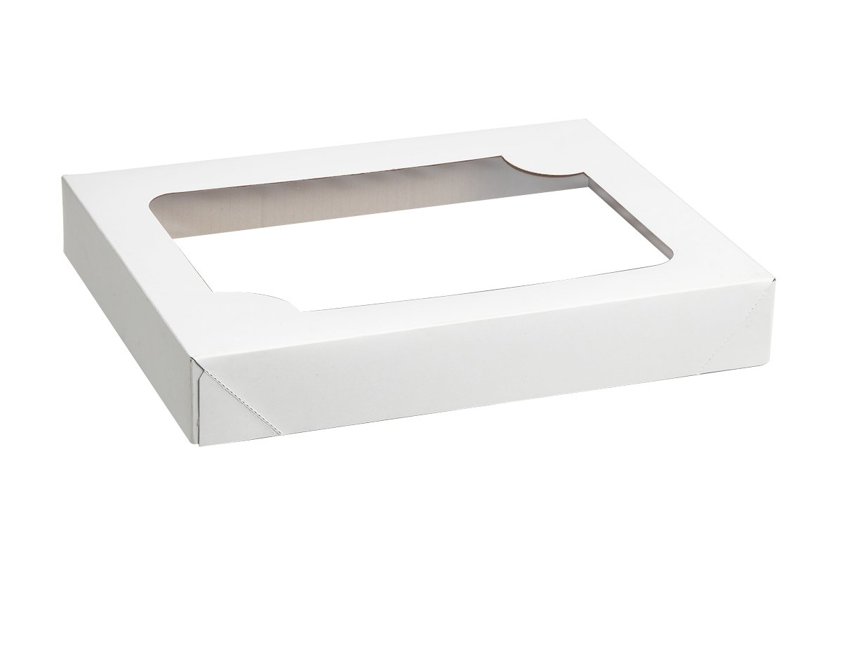 W PACKAGING WPWCB50WPT 15.75'' x 20.75'' WhitePlain Cake Box (Top Only) with Window for Rectangular Cakes, Half-Sheet, (Case of 100)