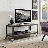 Modway Vivify Industrial Modern Tiered Serving Or TV Stand With Locking Casters