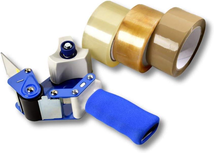 mit Sicherheitsklinge Exklusiver Profi Paketbandabroller und Klebebandabroller f/ür 50 mm breites Paketband schwere Metall- + Kunststoffkonstuktion mit exklusivem Komfort Schaumgriff