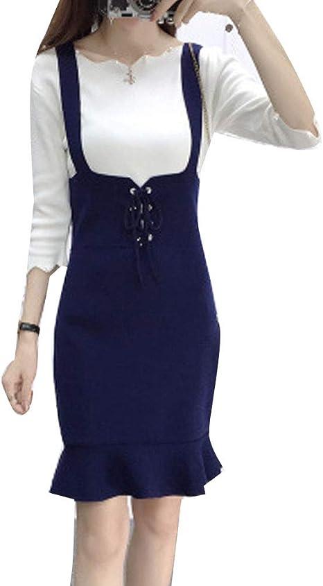 Guiran Mujer Petos Vestido De Punto Retro Elegante Midi Falda Azul ...