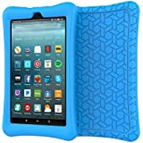 eTopxizu Case for All-New Amazon Fire 7 Tablet, Kids Friendly Light Weight Anti Slip Shock Proof Protective Soft Silicone Back Cover Case for New Fire 7 Tablet (7th Generation, 2017 Release), Blue
