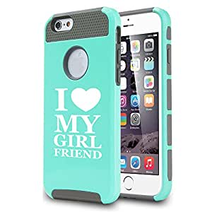 Apple iPhone 6 Plus / 6s Plus Shockproof Impact Hard Case Cover I Love My Girlfriend (Teal)