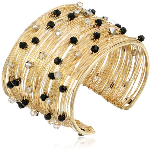 Panacea Black and Smokey Crystal Flexible Wire Gold Cuff Bracelet, 7