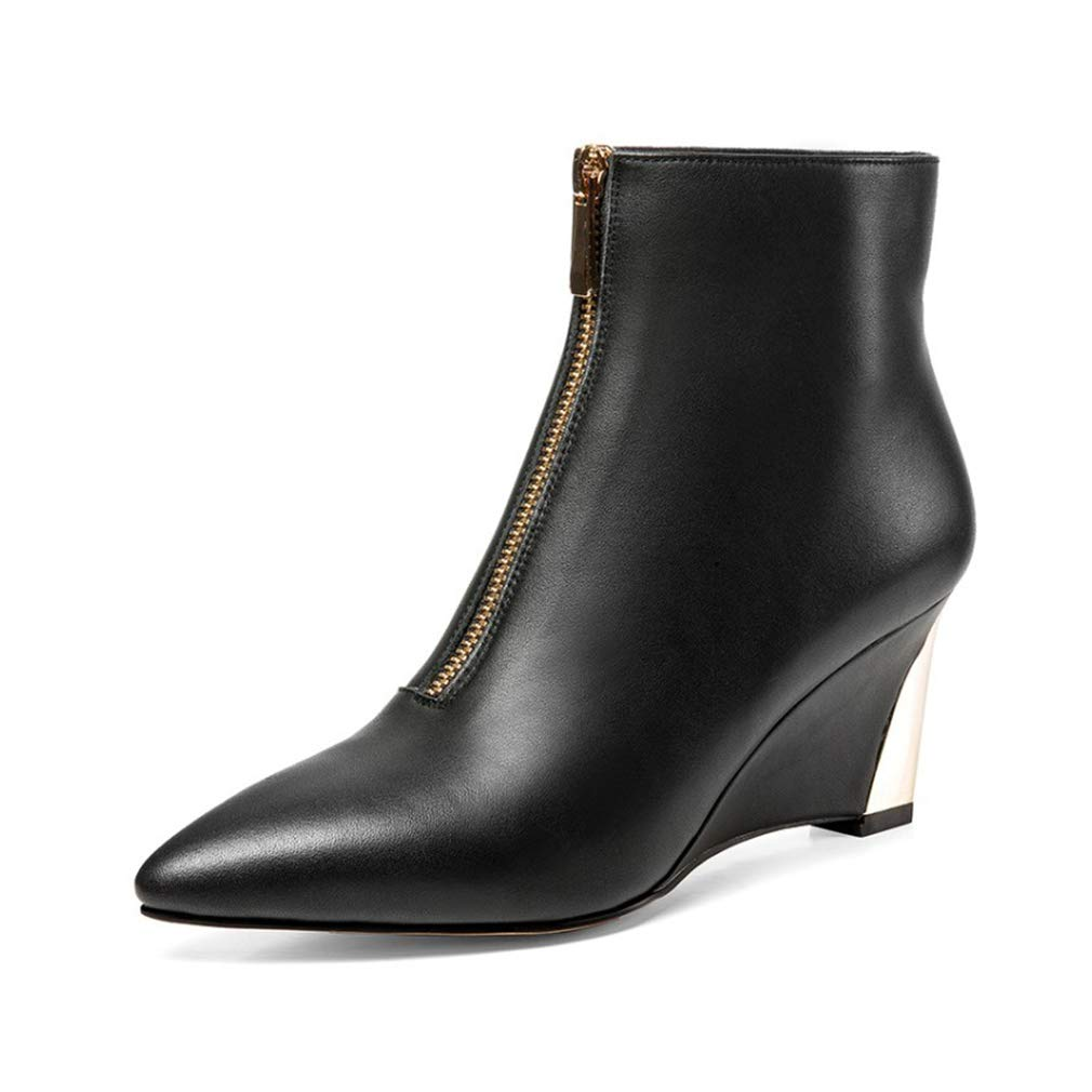 YAN Frauen es Stiefel Leder Herbst Winterboom Pointed Lady ' S Wedge Schuhe Fashion Zipper High Heels Schuhe Fashion Ankle Stiefel,schwarz,37
