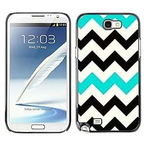 Design for Girls Plastic Cover Case FOR Samsung Note 2 N7100 Chevron Black Teal White Pattern Clean OBBA