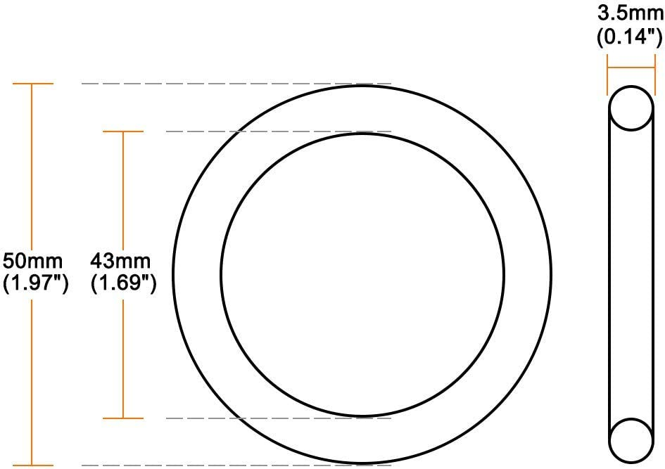 joint d/étanch/éit/é rond 20pcs diam/ètre ext/érieur de 50mm diam/ètre int/érieur de 43mm largeur de 3.5mm EUNOZAMY Joint torique en caoutchouc nitrile
