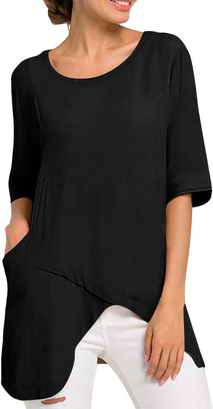 DressLksnf Camiseta Nuevo de Mujer Algodón y Lino Mangas Cortas Suelto Color Sólido Blusa Verano Cuello Redondo Camiseta Casual Dobladillo Irregular Tops: Amazon.es: Ropa y accesorios