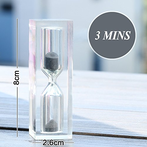 Sands timer,Crystal Sands clock For children brush teeth shatter-resistant 3 or 10 or 15 minutes coffee table book shelf Hourglass timer-I W1H3.2inch(2.68cm) (Crystal Clock Simon)