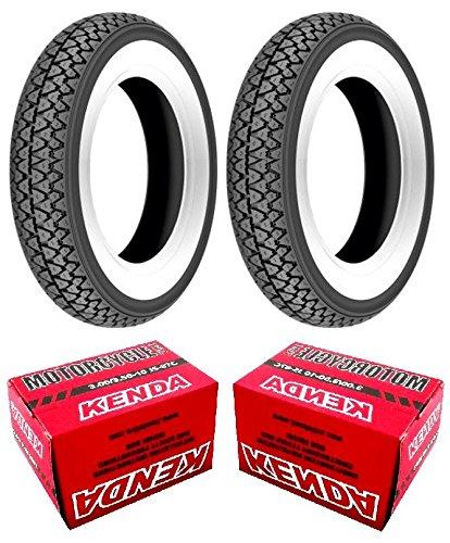 Par 2 neumáticos Kenda K 333 con banda blanca tamaño 3.00 - 10 con 2 Cámaras de aire Kenda para Vespa 50 V: Amazon.es: Coche y moto