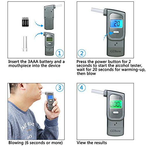 GDbow Portable Breathalyzer Alcohol Tester Recording 32 Testing Results with 5 Mouthpieces for Personal Use -Lead by GDbow (Image #6)