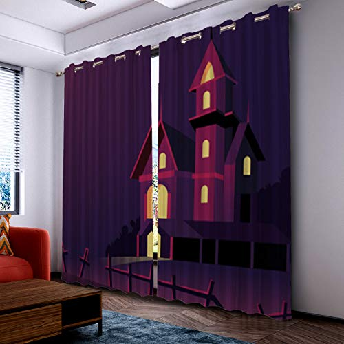 Prime Leader Curtains for Living Room- Darkening Thermal Insulated Window Treatment Curtains, with Grommet Home Decor Halloween Castle (2 Panels, 52 x 96 Inch Each Panel) ()