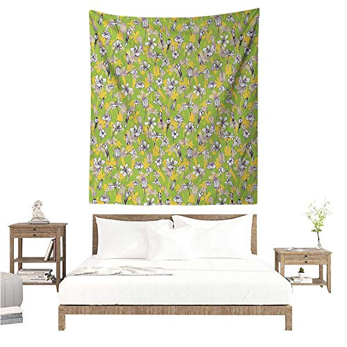 Agoza Floral Tapestry for Living Room Pattern of Line Drawing Style Herbs and Flowers Botanical Field in Full Blossom Home Decorations for Bedroom Dorm Decor 54W x 84L INCH Multicolor