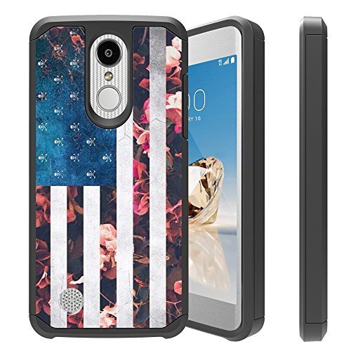 Untouchble| Case for LG Aristo 2, LG Fortune 2, LG Rebel 3 LTE, LG Tribute Dynasty, LG Zone 4 Cover [Shock Bumper Case] Combat Shockproof Two Layer Kickstand Cover - Flower USA Flag