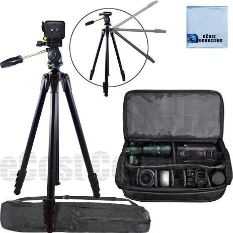 80 Inch Elite Series Full Size Camera Tripod + Extra Large Soft Padded Camcorder Equipment Case For Panasonic AG-AF100A, AG-HMC40, AG-HMC45, AG-HMC70U, AG-HMC80, AG-HMC150, DVX100B & More... + Microfiber Cloth