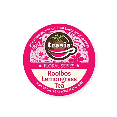 Teasia Brand Tea Pods, Rooibos Lemongrass Decaf (Caffeine-free), Herbal Tea GMO-free Capsules, Floral Series (36-count) Compatible with Keurig 2.0 Brewers (Rooibos Keurig K Teas Cup)