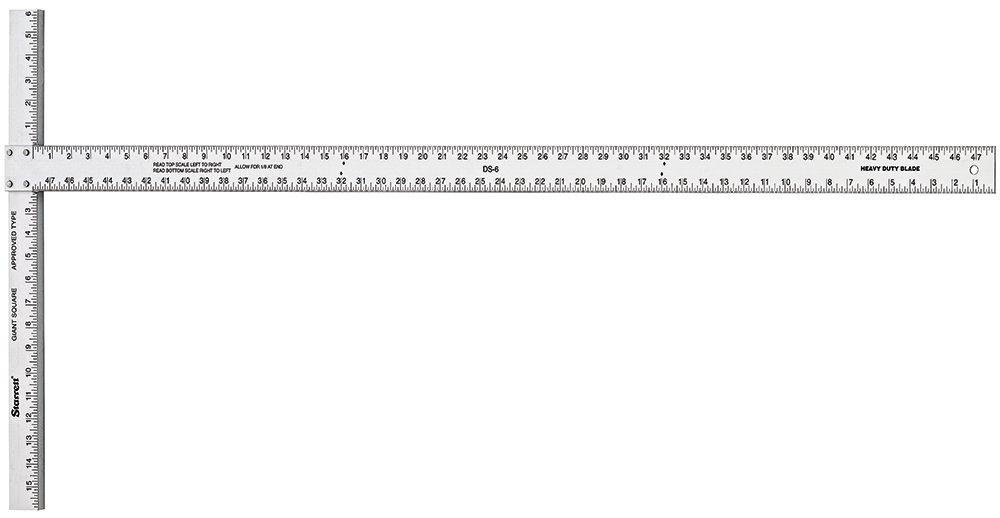 Starrett DS-6 Heavy Duty Aluminum Drywall Square, 22'' x 48'' Length