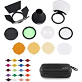 Godox AK-R1 Accessories Kit with PERGEAR Color Effect Gel Kit for for H200R Round Head and Godox V1 Series Flash V1-C V1…