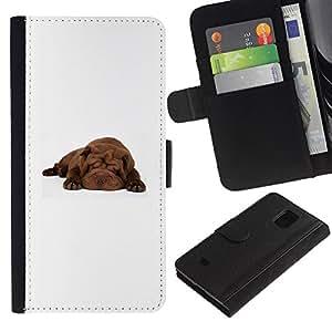 All Phone Most Case / Oferta Especial Cáscara Funda de cuero Monedero Cubierta de proteccion Caso / Wallet Case for Samsung Galaxy S5 Mini, SM-G800 // Shar Pei Sleeping Puppy Brown Dog