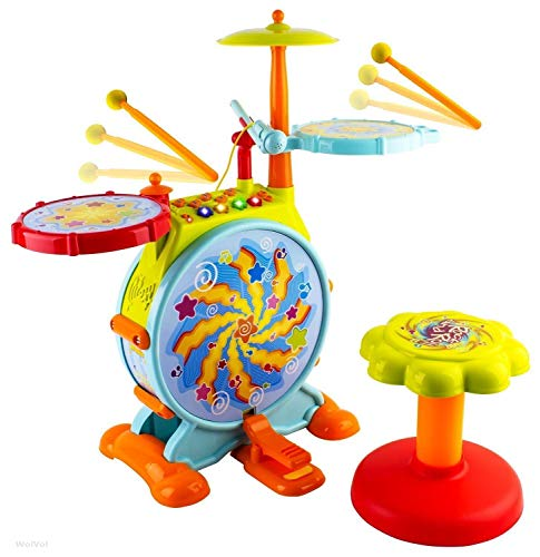 Play Baby Musical Big Toy Kids Drum Set with Adjustable Mic and Seat – Many Functions and Activities for Hours of Play – Pretend to Be A Real Drummer with Drumsticks, Pedals, and Bass Drum