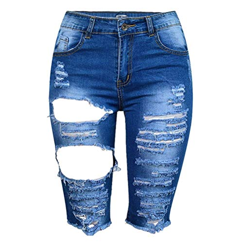 De Cintura Oscuro Mezclilla Jean Hasta Azul Alta Para Botón Y Mujer Cortos Rodilla Jeans Pantalones Bolsillos Con La Agujero Stretch Borla Huixin Elástico nBgEvE
