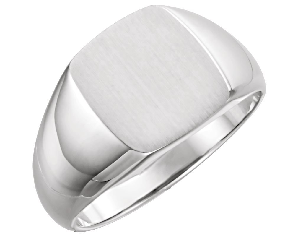 Men's Brushed Rectangle Signet Ring, Rhodium-Plated 14k White Gold (14MM) Size 11.25
