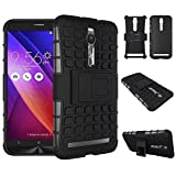 TARKAN TARKAN Hard Armor Hybrid Rubber Bumper Flip Stand Rugged Back Case Cover For Asus Zenfone 2 5.5 inch ZE550ML / ZE551ML - BLACK