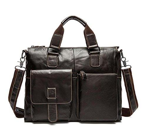 SHOUTIBAO Borsa da uomo in pelle/borsa da uomo d'affari casual/tracolla da uomo/valigetta/borsa a tracolla, 2 4