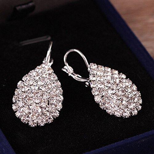 Wensltd Clearance! 1 Pairs Women Girls Cute Lady Crystal Rhinestone Earrings Elegant Jewelry (Silver) (Items On Sale)