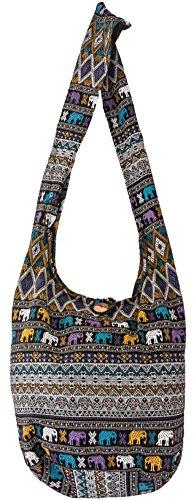SLING Bag COTTON 40 PRINTs Men or Women CROSSBODY bag LARGE BOHO hippie hobo handbag (Aztec SD Black) ()