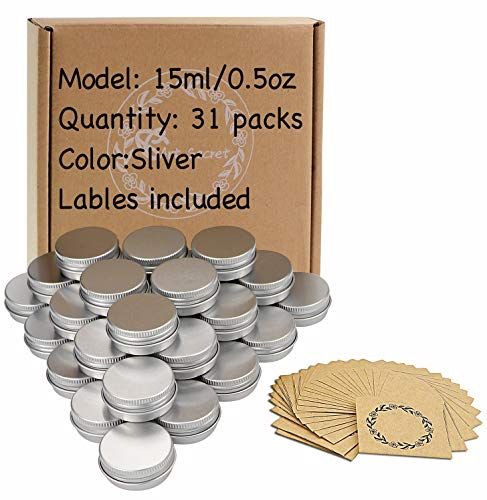 Screw Top Aluminum Tin Jars Tins Empty Container with Lip and 30Pcs Marking Labels for Candle, Lip Balm, Salve, Make Up, Eye Shadow, Powder (30Pcs 0.5oz./15ml) ()