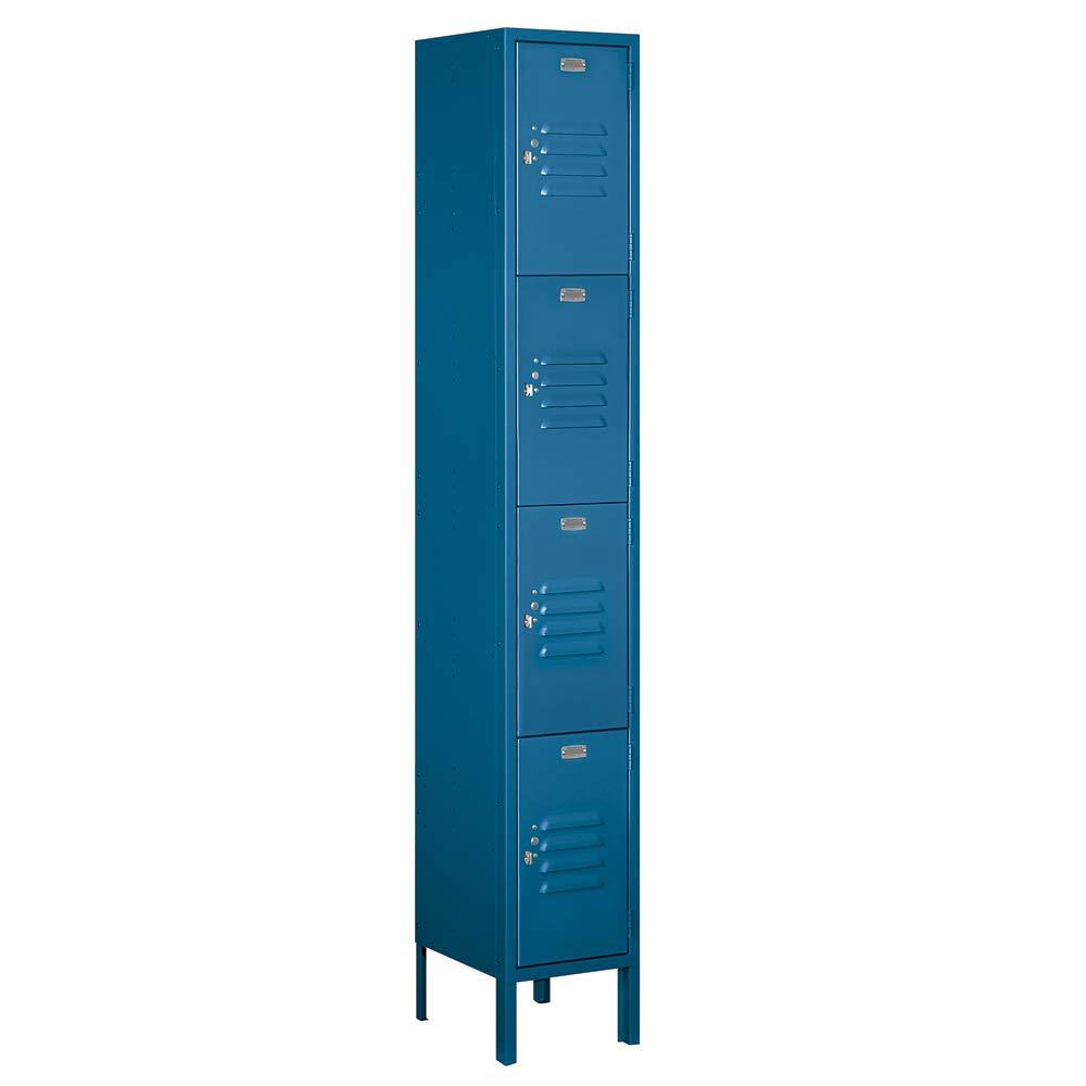 Salsbury Industries 64162BL-U 12'' Four Tier Standard, 1 Wide x 6 Feet High x 12 Inches Deep, Unassembled Metal Locker, Blue