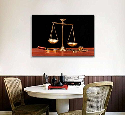 Still Life Money and Balance Scale Justice Concept Wall Decor