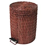 corner trash can - Step trash can,Rattan & Wicker waste bins with lids waste bins for kitchens bedroom office-B