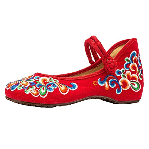 L-RUN Womens Embroidery Mary Jane Shoes Casual Ladies Old Peking Office Work Strap Flats Shoes Red Blue uJBJr