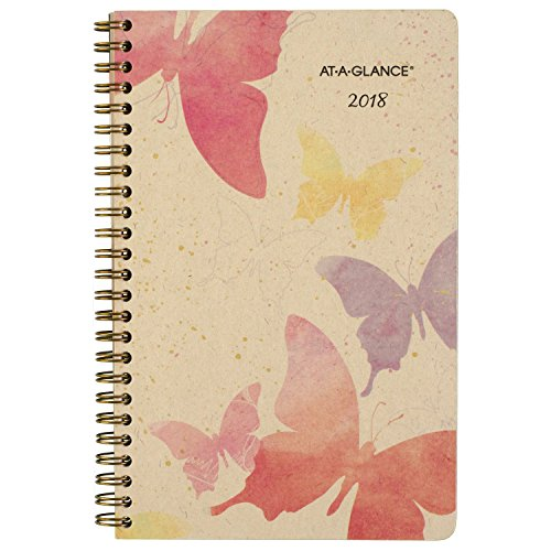 "AT-A-GLANCE Weekly / Monthly Planner, January 2018 - December 2018, 5-1/2"" x 8-1/2"", Recycled, Watercolors (791-200G)"