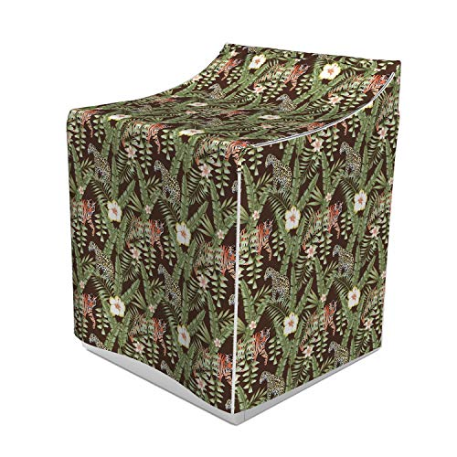 - Lunarable Safari Washer Cover, Composition of Tropical Leaves Hibiscus Flower with Wild Animals Leopard and Tiger, Suitable for Dryer and Washing Machine, 29