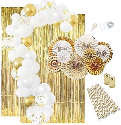 Amazon.com: Decoraciones para fiestas de oro: globos dorados ...