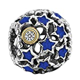WYBeads Blue Stars Screw Silver European Charms Bead for Snake Chain Bracelet Necklace Earring or Rings
