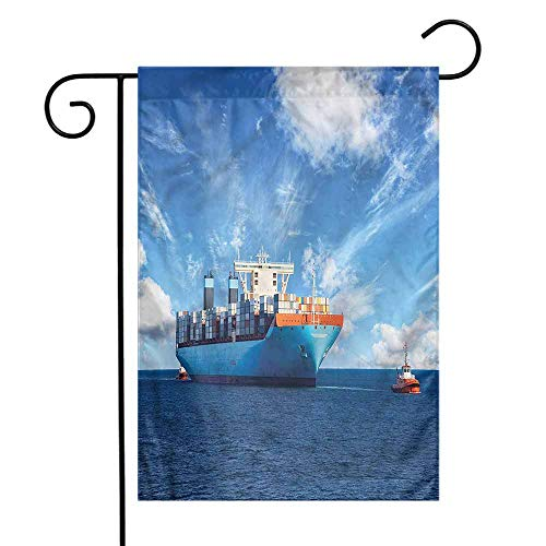 funkky Nautical Garden Flag Tugboats with Cargo Ships Premium Material 12