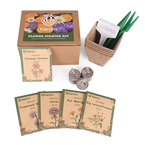 KORAM Cosmos Seeds Starter Kit, 5 Chrysanthemum Fall Flowers Seed Packets Garden Growing Set with Everything Gardener Needs & Daisy, Cosmos, Marigold, Aster, Bigger Leucanthemum Seeds