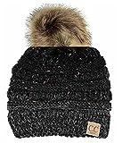 #10: Chalier Womens Winter Confetti CC Style Beanies Knit Stretch Pom Pom Beanie Hat