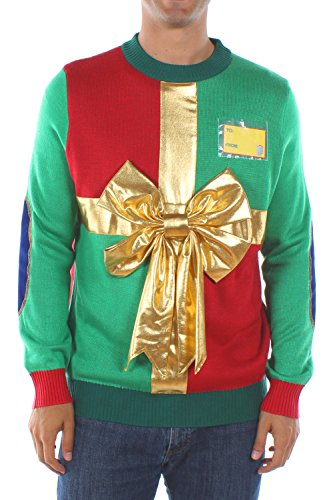 Christmas Sweater Ideas (Men's Christmas Present Sweater by Tipsy Elves: Small)