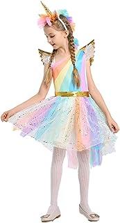 BESTOYARD Ragazze Unicorno Vestito Fascia Ali Set Unicorno Costume Vestito da Principessa Fiore Abiti da Sera per Bambini Festa Abiti Fantasia (x-Large, 130-140 cm)