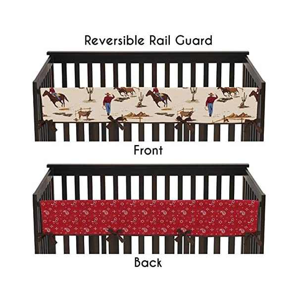 Sweet Jojo Designs Wild West Cowboy Western Long Front Rail Guard Baby Boy Teething Cover Protector Crib Wrap