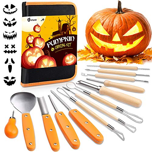 D-FantiX Halloween Pumpkin Carving Kit, 13 Pieces Professional Stainless Steel Pumpkin Carving Tools Kit with Stencils and Carrying Case - Carve Sculpt Jack-O-Lanterns Halloween Decorations ()