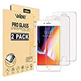 VIBE Screen Protector for Apple iPhone 8 Plus and iPhone 7 Plus Tempered Glass Film, 2-Pack